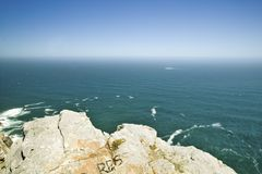 View of Cape Point, Cape of Good Hope, outside Cape Town, South Africa at the confluence of Indian Ocean on right and Atlantic Oce Royalty Free Stock Photography