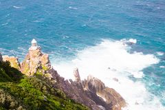 View of Cape Point lighthouse South Africa. African landmark. Navigation indicator Stock Photos