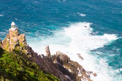 View of Cape Point lighthouse South Africa. African landmark. Navigation indicator Royalty Free Stock Images