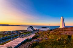 Cape Spear Lighthouse at Newfoundland. View of Cape Spear Lighthouse at Newfoundland, Canada, during sunset royalty free stock photos