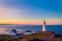 Cape Spear Lighthouse at Newfoundland. View of Cape Spear Lighthouse at Newfoundland, Canada, during sunset royalty free stock image