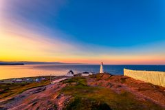 Cape Spear Lighthouse at Newfoundland. View of Cape Spear Lighthouse at Newfoundland, Canada, during sunset stock image