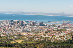 View of Cape Town central business district and harbor Stock Images