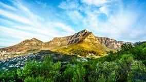View of Cape Town, Table Mountain, Devils Peak and the Twelve Apostles Stock Photos