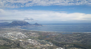 View on Cape Town and Table Mountain from the sky Stock Photos