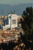 The view of the capital city from one of the Seven hills of Rome, Janiculum, Rome, Italy stock photo