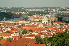 view of the capital city of Prague in the background Beautiful panoramatic old city Royalty Free Stock Photography