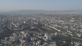View of the capital of Georgia Tbilisi from a height. Aerial video shooting stock video