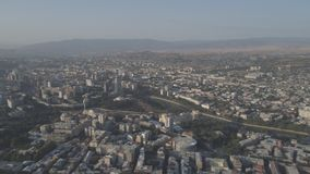 View of the capital of Georgia Tbilisi from a height. Aerial video shooting stock video footage