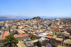 View of the capital of the island of Corfu and the old fortress Stock Images