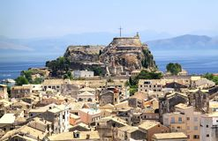 View of the capital of the island of Corfu and the old fortress Stock Photo