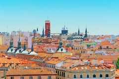 View of the capital of Spain-beautiful city Madrid from a bird`s Royalty Free Stock Photography