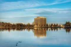 Landscape of a cold fall day. A view of capitol lake. A nice fall day royalty free stock photo