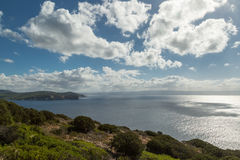 View from Capo Caccia across Mediterranean towards Alghero Royalty Free Stock Photos