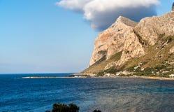 View of the Capo Gallo mount and gulf of Sferracavallo on Mediterranean sea, Sicily stock image