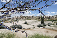 View of Cappadocia with Evil Eye Beads Stock Images