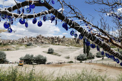 View of Cappadocia with Evil Eye Beads Royalty Free Stock Images