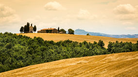 View of Cappella di Vitaleta in the tuscan region San Quirico d Royalty Free Stock Images