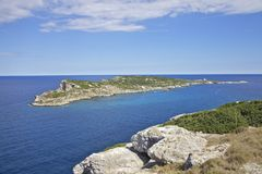 View on Caprara island and lighthouse. stock images
