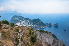 View of Capri Island from Monte Solaro Royalty Free Stock Photography