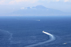 View from Capri to Vesuvius and the Tyrrhenian Sea, Italy. Royalty Free Stock Photos