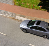 View of the car. And road from above Royalty Free Stock Photo