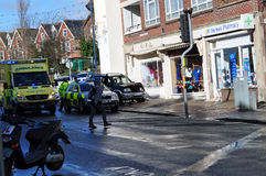 View of car accident swanage dorset Royalty Free Stock Photo