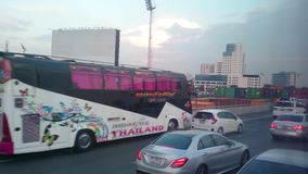 The view from the car in bangna road thailand stock footage