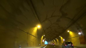 View from a car driven through the tunnel stock video