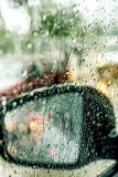 View from the car glass on the rainy day Royalty Free Stock Photography