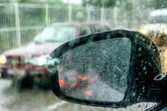 View from the car glass on the rainy day Royalty Free Stock Image