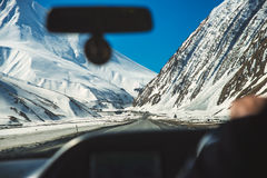 View from the car on a mountain road. In the Caucasian mountains Royalty Free Stock Photography