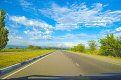 View from the car. View of the road through window of the car royalty free stock photography