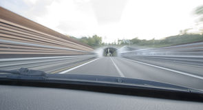 View of car that runs speedy in highway Stock Image