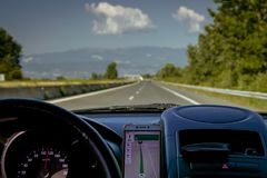 View from the car to the highway in Bulgaria stock photo