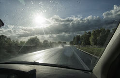 View of car on a wet highway Royalty Free Stock Photo