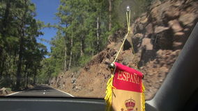 View from a car window going through Teide National Park in Spain stock footage