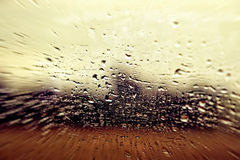 View from a car window during rain Stock Photo