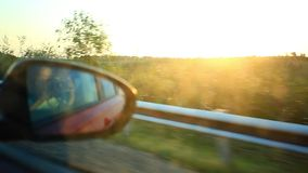 View through a car window. rural landscape on stock footage