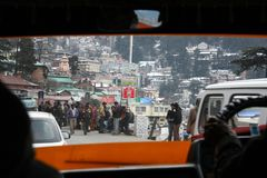 View from the car window to the road in the morning.There are a lot of people. SHIMLA, India - January 17:View from the car window to the road in the morning Stock Images
