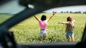 View through car window of women jumping in field stock video