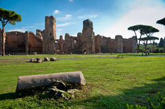 View of Caracalla springs ruins from grounds with column at Rome Stock Photos