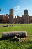 View of Caracalla springs ruins from grounds with column at Rome Stock Photo