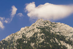 View of caraiman heroes cross monument in bucegi mountains Royalty Free Stock Image