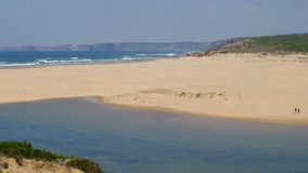 View on Carapateira beach in the Algarve Portugal stock video footage