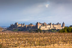 View of Carcassonne castle in Languedoc-Rosellon (France) Stock Photos