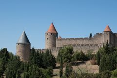 View of carcassonne citadel from outside on a sunny day. stock photo