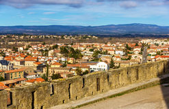 View of Carcassonne from the fortress - France Royalty Free Stock Photography
