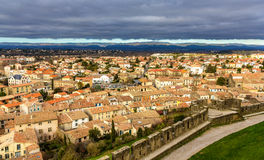 View of Carcassonne from the fortress - France Royalty Free Stock Photo