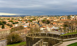 View of Carcassonne from the fortress - France Royalty Free Stock Photos